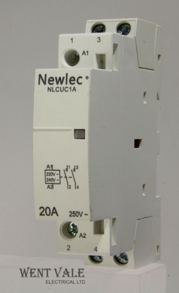 Newlec - NLCUC1A - Double Pole 20a Normally Open Contactor 250vac Coil Used